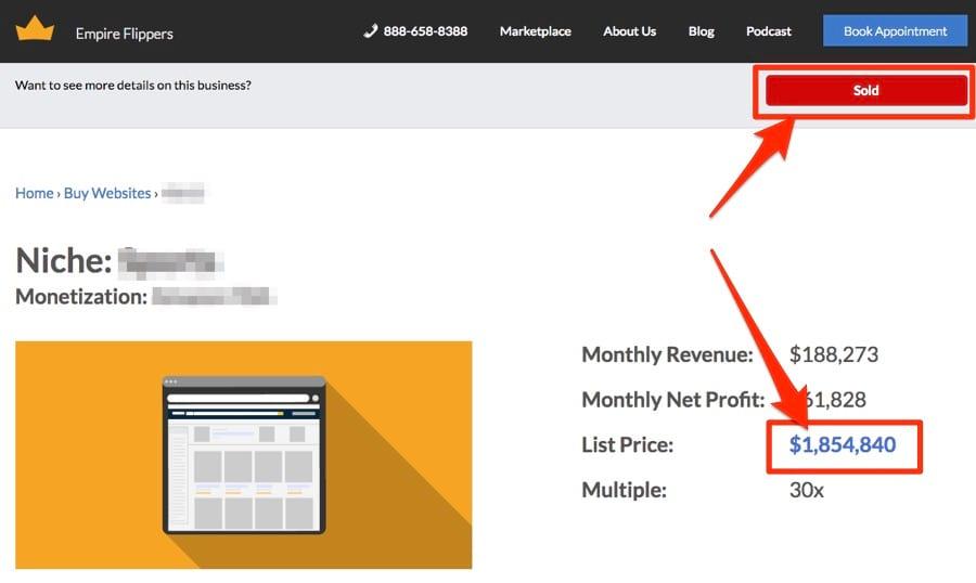 định giá website bằng công cụ empire flippers